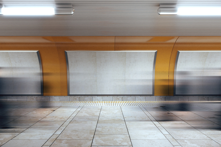 display advertising: Blank billboards in subway, mock up Stock Photo