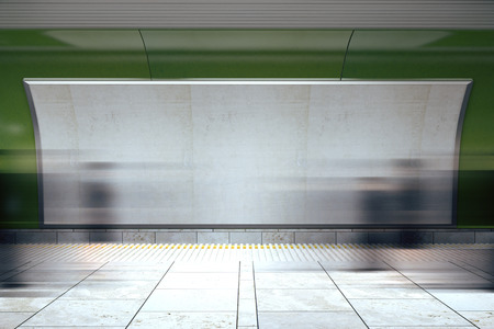 sub station: Blank billboard and moving people in subway, mock up Stock Photo