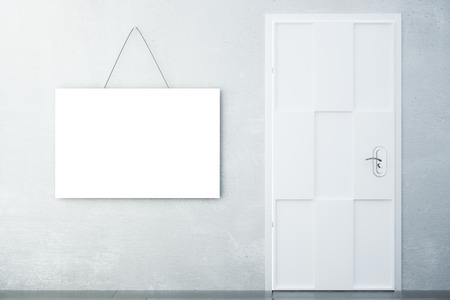 room door: Blank white picture on concrete wall with white door in empty room, mock up
