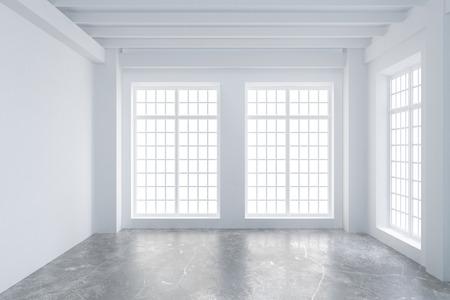 hormig�n: habitaci�n vac�a de loft moderno, con grandes ventanas y piso de concreto