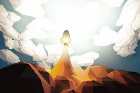 Blasts off space rocket from cosmodrom in the clouds, polygonal style Stock Photo