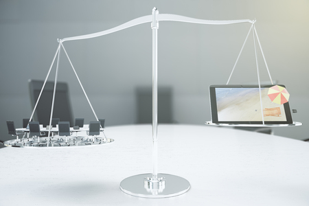 the right choice: Right choice concept with conference room and digital tablet with 3D beach on the scales Stock Photo