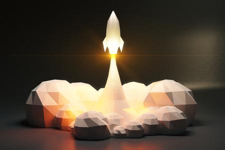 Blasts weg Weltraumrakete aus cosmodrom, polygonal Stil Standard-Bild - 52285641