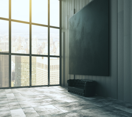 big picture: Blank black big picture above leather sofa in empty loft room with big windows and concrete floor Stock Photo