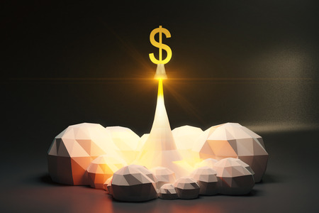 spaceport: Dollar sign off from spaceport, polygonal style concept Stock Photo