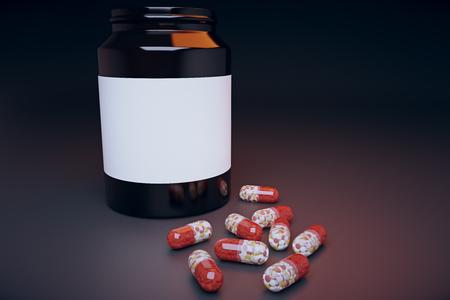pilule: Banco de p�ldoras en la mesa, maqueta