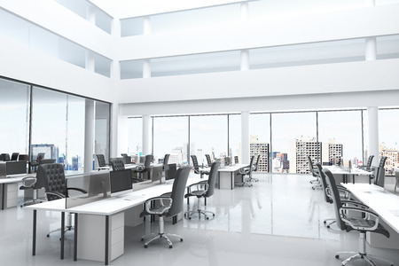 office window view: Modern office with open space and large windows Stock Photo