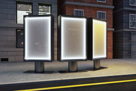 Three billboards on the street at night, mock up