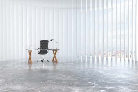 white work: Work desk in a contemporary white room