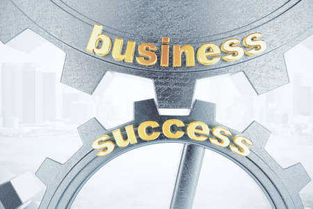 success concept: Business success concept with grey gears