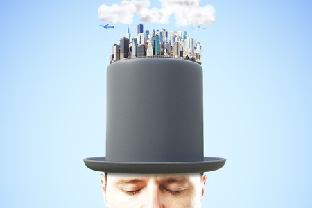 rich: Man head in black cylinder with city district on the top