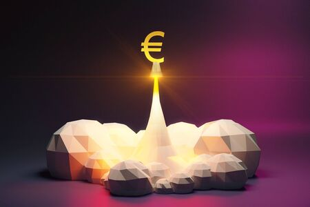 spaceport: Euro sign off from spaceport, polygonal style concept