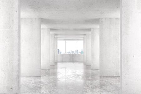 view window: Loft style tunnel with many walls in light empty building with big window and city view