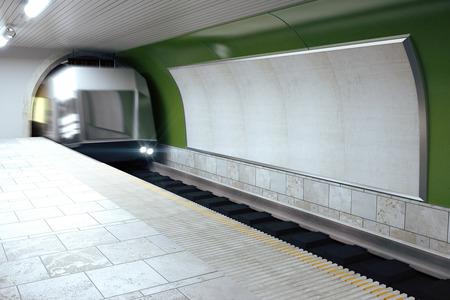sub station: Blank grey billboard on green subway wall and moving train, mock up Stock Photo