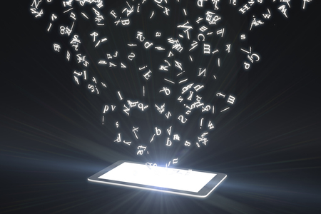 Flying letters from glowing cell phone