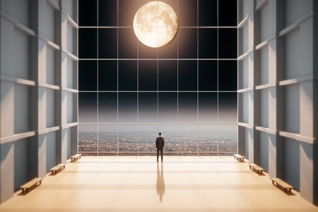 great hall: Man standing and looking out of the window in the great hall in the moonlight Stock Photo