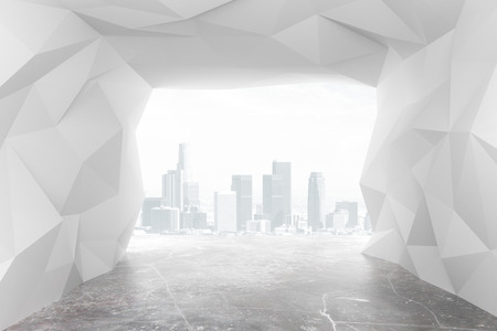 megapolis: Modern abstract tunnel with city views