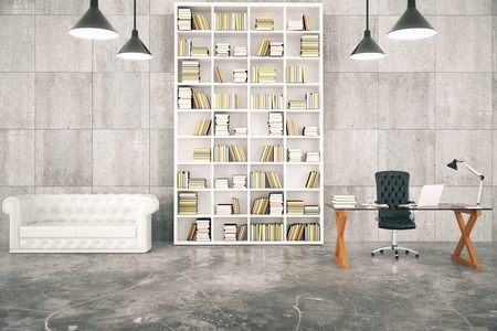 book shelves: Loft interior with a library and a work desk and a white leather sofa Stock Photo