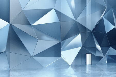 Abstract metal wall with concrete floor Фото со стока