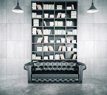 leather sofa: Loft interior with a library, a beautiful leather sofa and a concrete floor