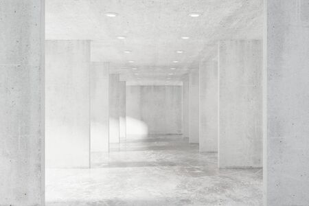 cement floor: Big empty loft hall with many concrete wall and floor
