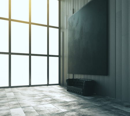 big picture: Blank black big picture with leather sofa and big window in modern room, mock up