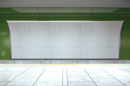 sub station: Blank billboard on green subway wall in empty hall, mock up