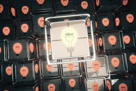 glowing light bulb: Idea concept with glowing light bulb in box between others