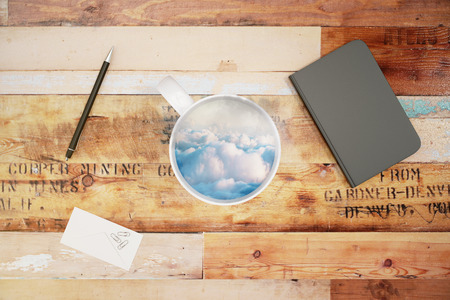diary cover: Cup with sky and clouds and blank diary cover, mock up