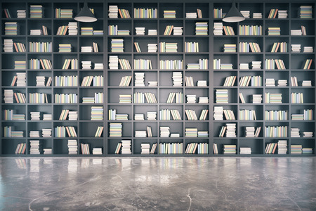 Personal library with big bookcase and concrete floor