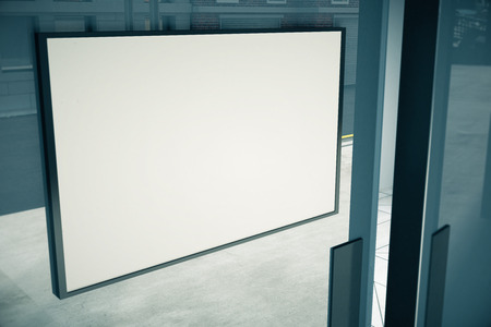 mocked: Blank white signboard on glassy door of building, mock up Stock Photo