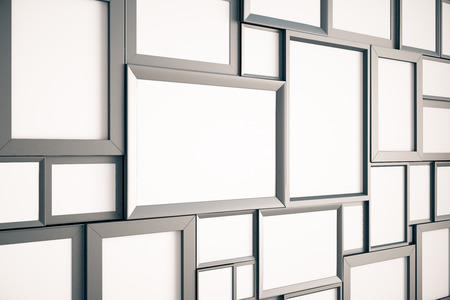 modern frame: Many blank brown wooden pictures frames on the wall, mock up, 3D render Stock Photo