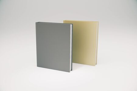 diary: Two books different color with blank cover, mock up, 3D render Stock Photo