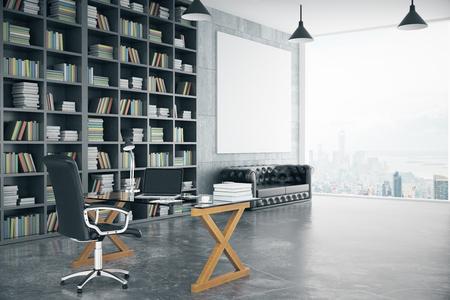 ロフト専用オフィス ブック ケース、革ソファー、ガラス テーブル、大きな窓、モックアップ、3 D のレンダリングに空白のポスター