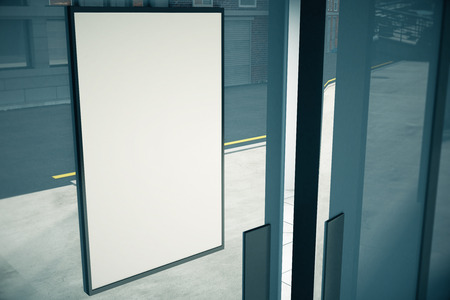 mocked: Blank white signboard on glassy wall of building, mock up, 3D render
