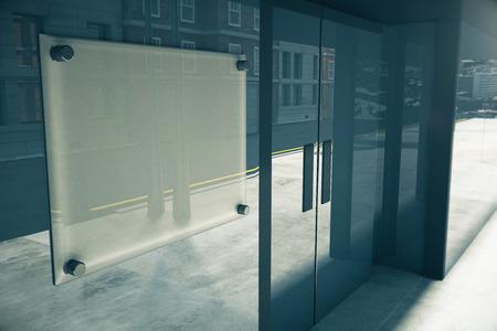 mocked: Blank glassy signboard on glassy wall of building, mock up, 3D render