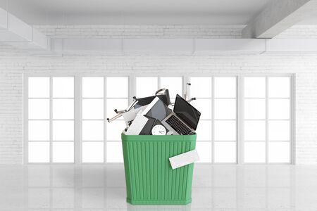 bureaucracy: Office stuff in big green trash box in empty room with big windows, 3D render Stock Photo