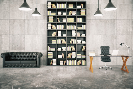 Private loft office with bookcase, leather sofa and glassy table with concrete floor and lamps, 3D render