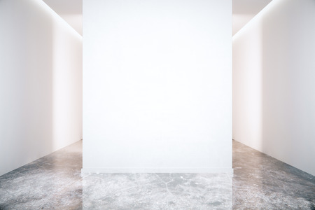 Blank white wall in room with grey marble floor. Mock up, 3D Render