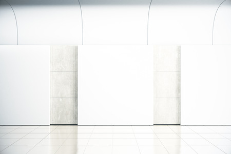 Blank square posters on concrete wall in empty hall, mock up, 3D Render