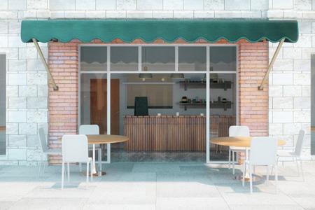 レンガの壁と緑の天蓋陥デザイン カフェ。3 D のレンダリング