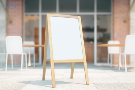 Blank white menu stand on cafe exterior background. Mock up, 3D Render