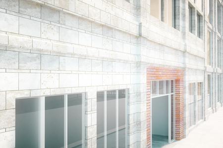 Exter diseño edificio de ladrillo blanco. Render 3D
