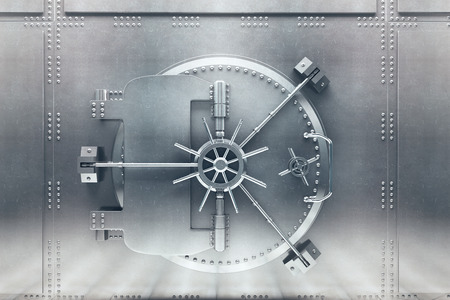 door lock: Front  view of light silver bank vault door, closed. 3D Render