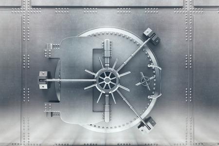 Vista frontale della porta del caveau argentato, chiusa. Rendering 3D Archivio Fotografico