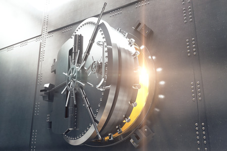 Closeup of an open bank vault door with golden light peeking from inside. 3D Render Stock Photo