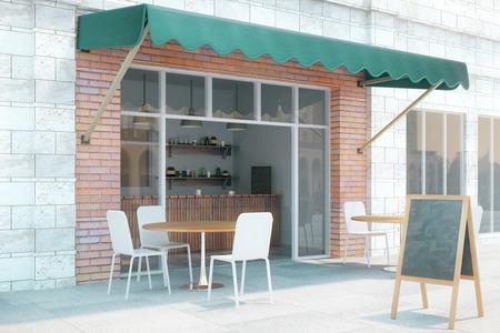 빈 검은 메뉴와 카페 외관 디자인은 오른쪽에 서있다. 3D 렌더링, 최대 조롱