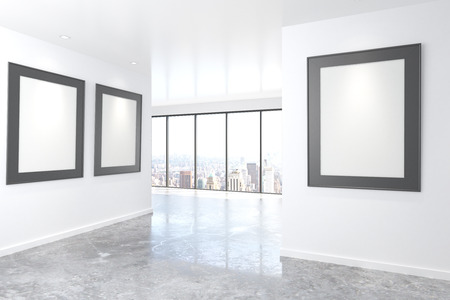 picture window: Blank picture frames on white walls in empty office with concrete floor and big window, mock up, 3D Render