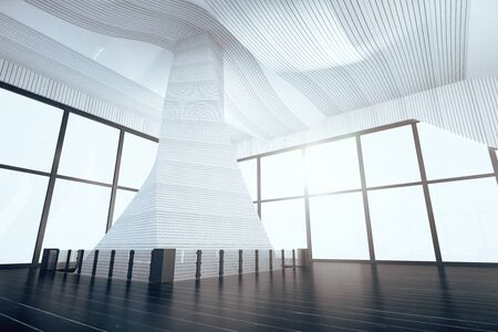 indoor background: Empty modern hall with futuristic interior, big windows and black floor, 3D Render