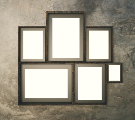 Brown Broad Pattern Wall With Multiple Blank Picture Frames Stock